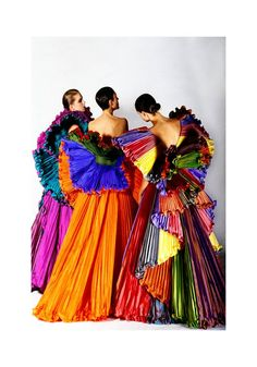 Collection of colorful fashions from designer Roberto Capucci