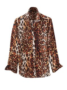 'Sara' Silk Print Blouse is a giraffe-inspired pattern, rendered in luxurious silk satin. Tailored in Italy with shirt collar, covered placket, long sleeves with button cuffs.