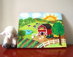Daybreak On The Farm.  My daughter asked me to paint this! Perfect for the farm themed nursery.