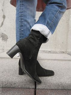 Women Enrico Antinori Suede Black Leather Ankle Boots Shoes Size 38 (US 7.5M)