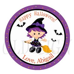 Halloween printable Stickers, Cupcake Topper, Tags, HALLOWEEN PARTY. 2 Inch Circles.  Digital file
