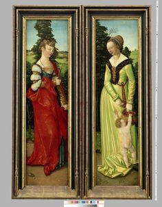 Wings from an altar showing St. Apollonia and St. Dorothy, Haans Baldung Grien, paint on panel, 1507, German (Nuremberg). Germanischen Nationalmuseum accession no. Gm1079
