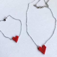 Little cute heart charms in bright red color to match your Easter outfit  #sousouhandmadeart #etsyshop #finebeadwork #bestqualitybeads #redhearts #beadedhearts #sterlingsilverchain #braceletandnecklace #eastergift #loversgift #spreadthelove #lovebeading #lovehandmadejewelry #perlesandco