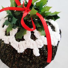 Christmas Pudding Bauble - Handmade Luxury Christmas Decoration by  Paradis Terrestre