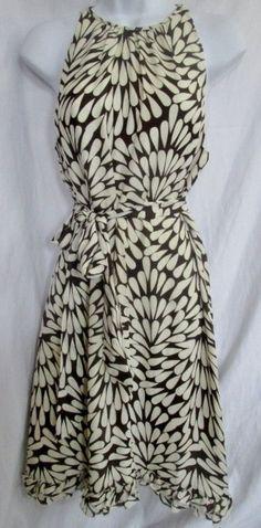 WOMENS TORY BURCH PETAL Silk Dress Evening Gown 6 WHITE BROWN Floral