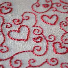 Pink Love Heart  Embroidery Hoop by LilleyStitches