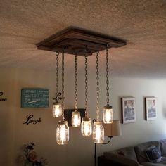Rustic Mason Jar Chandelier with 6 Industrial chain pendant lights, Weathered Reclaimed Wood farmhouse mason jar light