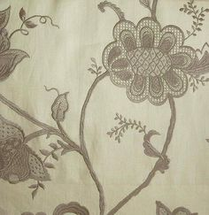 Jacobean Embroidered Linen Fabric Ivory linen with a beautiful taupe floral embroidery