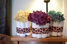 Centerpieces for safari baby shower. Too cute!
