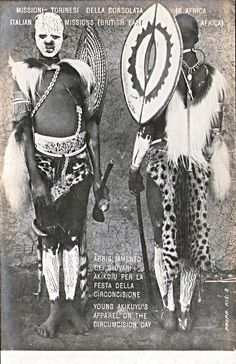 """Young KIKUYU on cicumcision Day, Kenya. During initiations junior warriors of the KIKUYU painted their faces and bodies and wore shields like this called """"ndome"""" on their upper arms. All wood shields were decorated with nonfigurative motifs on the outer surface and usually on the inside as well. The boys wear the """"ndome"""" shields during these dances to symbolise the adult warrior status they are about to acquire."""