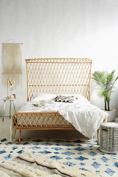 Slide View: 1: Curved Rattan Bed