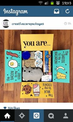 Creative care package for deployment. You are the cheese to my macaroni, the milk to my cookie and the bacon to my egg.: