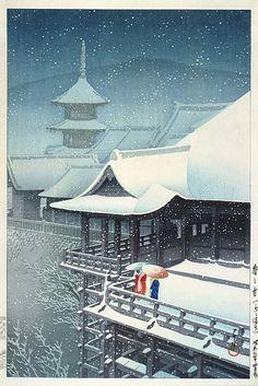 hanga gallery . . . torii gallery: Spring Snow at Kiyomizu, Kyoto by Kawase Hasui,  1932
