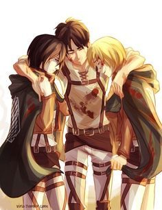 My favorite trio ever. Mikasa, Eren and Armin hugging each other