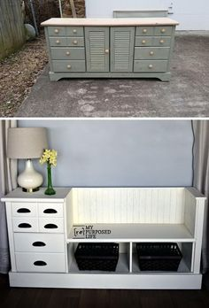 Storage Bench Made from a Dresser.