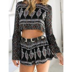 Sexy Round Neck Floral Print Backless Long Sleeve Crop Top and Shorts Twinset For Women (COLORMIX,M) in Shorts | DressLily.com