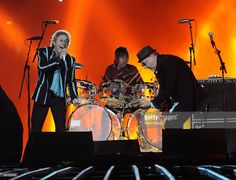 Musicians Roger Daltrey, Zak Starkey and Pete Townshend of The Who perform onstage during the Super Bowl XLIV Halftime Show at the Sun Life Stadium on February 7, 2010 in Miami Gardens, Florida.