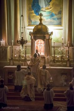 Elevation of the host during the mass. High church liturgy