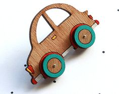 Wooden Laser Cut Car Brooch