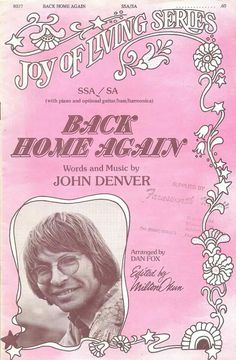 Back Home Again, sheet music from 1976