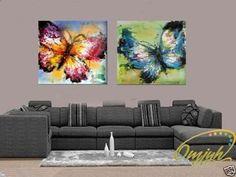 Barato Enorme 2 pc tela sem moldura. Mão pintura moderna Art pintura óleo linda borboleta, Compro Qualidade Pintura & caligrafia diretamente de fornecedores da China:        Bem-vindo à minha loja                         Tamanho 12x36 inchx1pcs          Normalmente nós lhe e