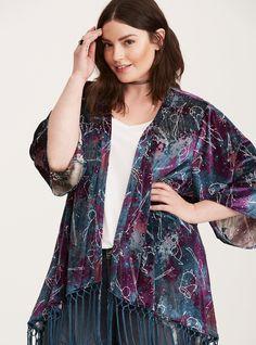 Harry Potter Astronomy Fringe Kimono in Multi Fringe Kimono, Kimono Top, Plus Size Tops, Plus Size Women, Wizard Robes, Turquoise And Purple, Purple Velvet, Plus Size Kimono, Evening Dresses Plus Size