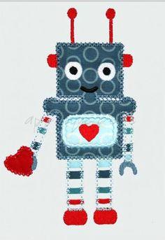 Robot Valentine Machine Embroidery Applique Design