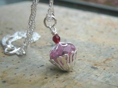 Pink Cupcake Necklace with Fancy Glass and a by AFineDistraction, $26.00