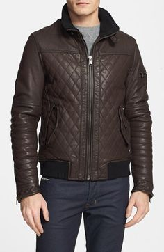 $398, Dark Brown Leather Bomber Jacket: Rogue Quilted Leather Moto Jacket Small. Sold by Nordstrom. Click for more info: https://lookastic.com/men/shop_items/293276/redirect