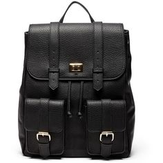 Sole Society Shaw Backpack W/ Front Pockets (€63) ❤ liked on Polyvore featuring bags, backpacks, backpack, accessories, bolsas, black, day pack backpack, backpack bags, travel rucksack and travel bag