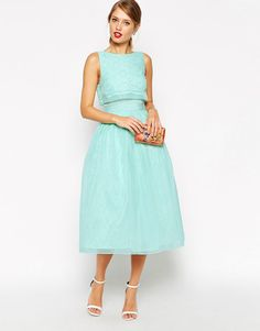 ASOS lace top midi prom dress