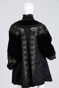 1890s Belle Epoch Silk Damask Velvet and Lace Jacket image 4