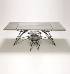 concrete furniture / Concrete and steel table /  Custom Commissions | Hard Goods www.hard-goods.com