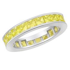5.80Ct Square Princess Yellow VVS1 In 14K White Gold Over Wedding Band Ring # Free Stud Earrings by JewelryHub on Opensky
