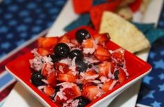Red, White, and Blue Fruit Salsa |  It is sweet and tart and pairs perfectly with the salty Freedom Chips {if you like salty and sweet combos you will LOVE this!}.  @flchefnicole