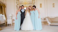 Bride & Groom with bridesmaids at Gosfield Hall | Photography by Enchanting Wood http://www.enchantingwood.co.uk/gallery/gosfield-hall/