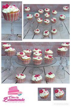 Bruidscupcakes in roze wit.