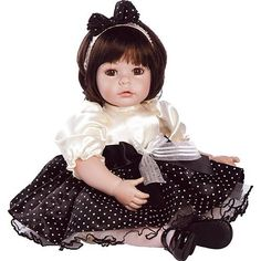 Adora Girly Girl Dark Brown Hair with Brown Eyes 20 inch Baby Doll - Charisma 1019735 - Collectible Dolls - FAO Schwarz® Dora Doll, Baby Girl Dolls, Child Doll, Girly Girl, Little Girl Dresses, Flower Girl Dresses, Little Charmers, White Polka Dot Dress, White Tulle