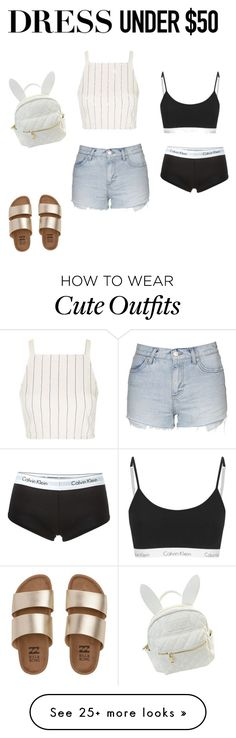 """""""Being cute and a causal outfit"""" by taylortibbs on Polyvore featuring Calvin Klein Underwear, Topshop, Billabong, cutekawaii and Dressunder50"""