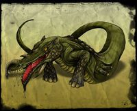 The Makara are from Hindu myth. They are considered guardians of gateways and thresholds, protecting throne rooms as well as entryways to temples.