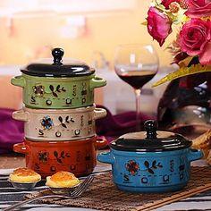 binaural tazón de fideos instantáneos con el color de la tapa bajo vidriado de cerámica color al azar, 16.5x12.5x10.5cm – EUR € 15.89