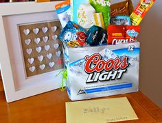 Easter basket for men! Case is filled with easter grass; note that the beer is already chilling in the fridge. Makes me laugh and itd make him smile. I would have to get something much better than coors light though! Easter Crafts, Holiday Crafts, Holiday Fun, Christmas Gifts, Holiday Ideas, Craft Gifts, Diy Gifts, Baskets For Men, Gift Baskets