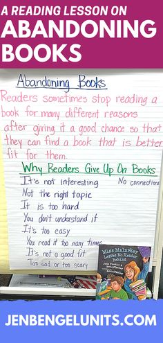 Part of teaching students to find just right books is helping them learn when is the right time to abandon a book. Check out this mini lesson statement and student responses to why readers give up on books. Just Right Books, Reading Lessons, Writer Workshop, Writing Process, Teaching Writing, Book Reader, Upper Elementary, Teacher Pay Teachers, Anchor Charts