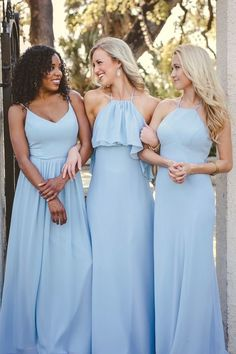 Bridesmaid Gowns Elle high neck chiffon bridesmaid dress in powder sky. - Elle chiffon bridesmaid dress with high neck and sleek a-line skirt. Elegant and simple chiffon dress silhouette. Light Blue Bridesmaid Dresses, Bridesmaid Separates, Blue Bridesmaids, Wedding Bridesmaid Dresses, Dress Wedding, Wedding Blog, Marine Uniform, Maid Of Honour Dresses, Marie