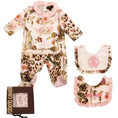 ROBERTO CAVALLI baby Gift set leopard romper suit with frilled collar  From www.kidsandcouture.com