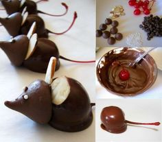 These Christmas Mice are so cute and fun to make... Hershey Kisses, unwrapped, slivered almonds or halved peanuts, Maraschino cherries with the stems- patted as dry as possible, melted milk chocolate or semi-sweet chocolate chips, tiny white nonpareils (for eyes). You will also need a glass microwave dish, spoon, toothpick, and parchment paper and GRAND CHILDREN to help make them! =0)