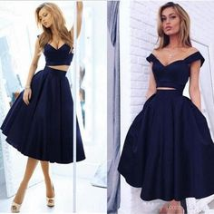 Short Sexy Two Pieces Satin A-line Prom Dress, Dark Navy Homecoming Dresses , Off-the-