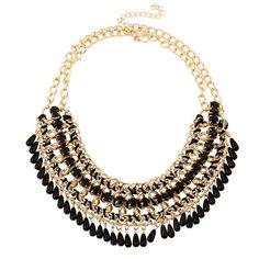 Bohemian Big Maxi Necklace 2016 Fashion Droplets Tassel Choker Collier Bijoux Women Black Statement Necklace Ethnic Jewelry
