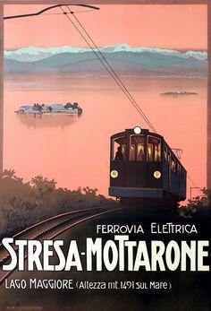 Ferrovia Elettrica Stresa-Mottarone by Borgoni, Mario | Vintage Posters at International Poster Gallery