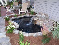34 Cheap And Lovely Garden Pond Waterfall Design Ideas # Small Backyard Ponds, Outdoor Ponds, Backyard Ideas, Garden Ideas, Small Ponds, Small Fish Pond, Outdoor Fountains, Modern Backyard, Back Yard Pond Ideas